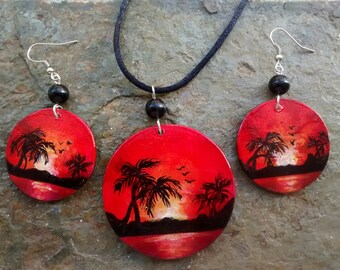 Earrings & Pendant SUNSET - freehand painted wood