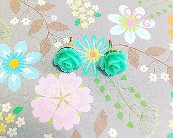 Mint Green Rose Stud Earrings Flower Post Earrings Cabochon Earrings Gift For Women Gift For Girls