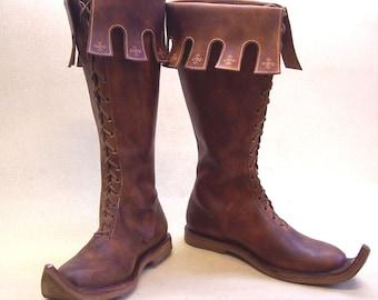 NOTTINGHAM high leather Medieval SHOES Boots Middle Ages Re-enactment SCA Fantasy Larp Gothic Shoe Men Women Unisex Reenactment handmade