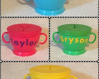 Personalized Snack Container Cup Baby Toddler No Spill Custom