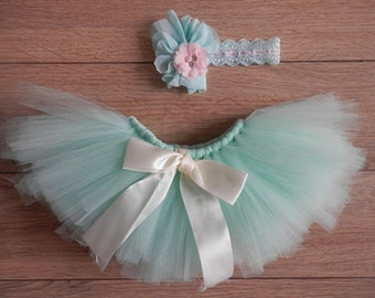 On Sale! Sweet Baby Blues Tutu Newborn Tutu Custom Vintage Style Flower Headband Stunning Newborn Photo Prop EL278