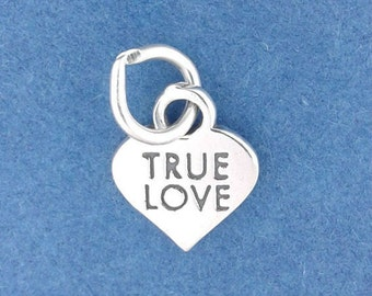 TRUE LOVE Charm .925 Sterling Silver Candy Heart Valentine, Miniature Small -  f5366
