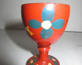 Norwegian Wooden Red Egg Cup - Hand Painted Egg Cup - Vintage Egg Cup - Collectible