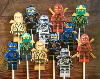 12- LEGO NINJAGO Cupcake and Cake Toppers Party Supplies