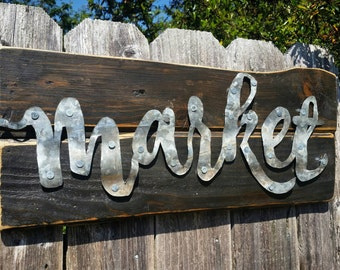 Metal Market Sign