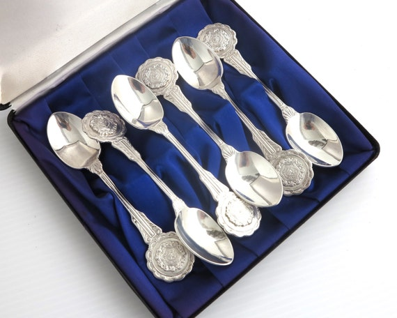 6 silver plated vintage souvenir teaspoons, highly decorative, original box, purple lining, gift set for St Aloysius College, Melbourne