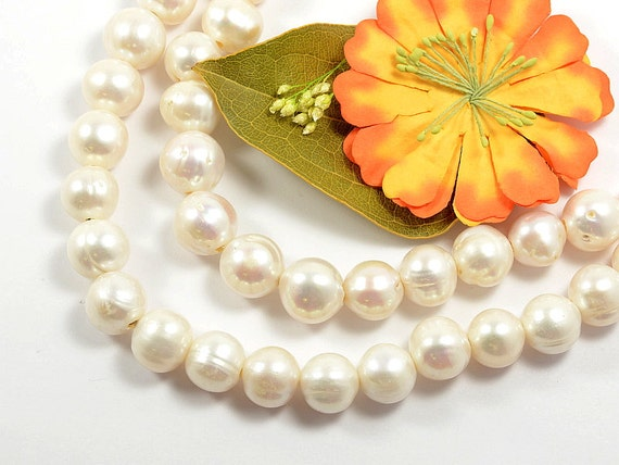 13mm - 15mm large hole (2.5mm) genuine freshwater pearls, natuarl round, natural white -10 pcs/ order