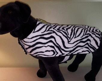 Reversible Fleece Dog Coat, Winter Dog Coat, Zebra Print Dog Coat, Dog Clothing, Dog Apparel