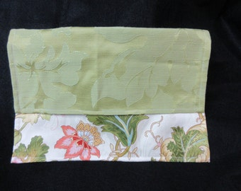 "Lightweight Upholstery Green Floral Clutch | 12 1/8"" L x 8 1/8"" H"