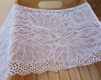 """pure White lace trim, snow white stretch lace fabric trim, elastic lace in white, 7"""" wide one yard"""