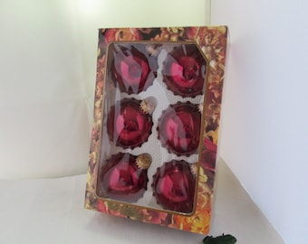Set of 6 Dark Red Boxed Glass Ornaments from Christmas by Krebs Holiday Decor Red Ornaments Tree Decor Christmas Decor Xmas ornaments