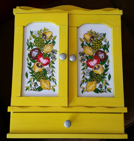 Spice Rack Yellow And Grey Fruit Design By WildThings2Treasure