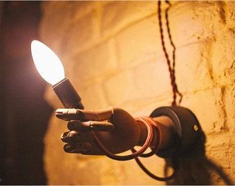 Sconce Wooden lamp Transformer human hand. Human parts art design. Wall lamp Loft lighting
