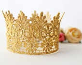 Gold Princess Birthday Crown Headband - Lace - Birthday Crown - Cinderella - Costume - Newborn - Photo Prop - Maternity Prop - Cake