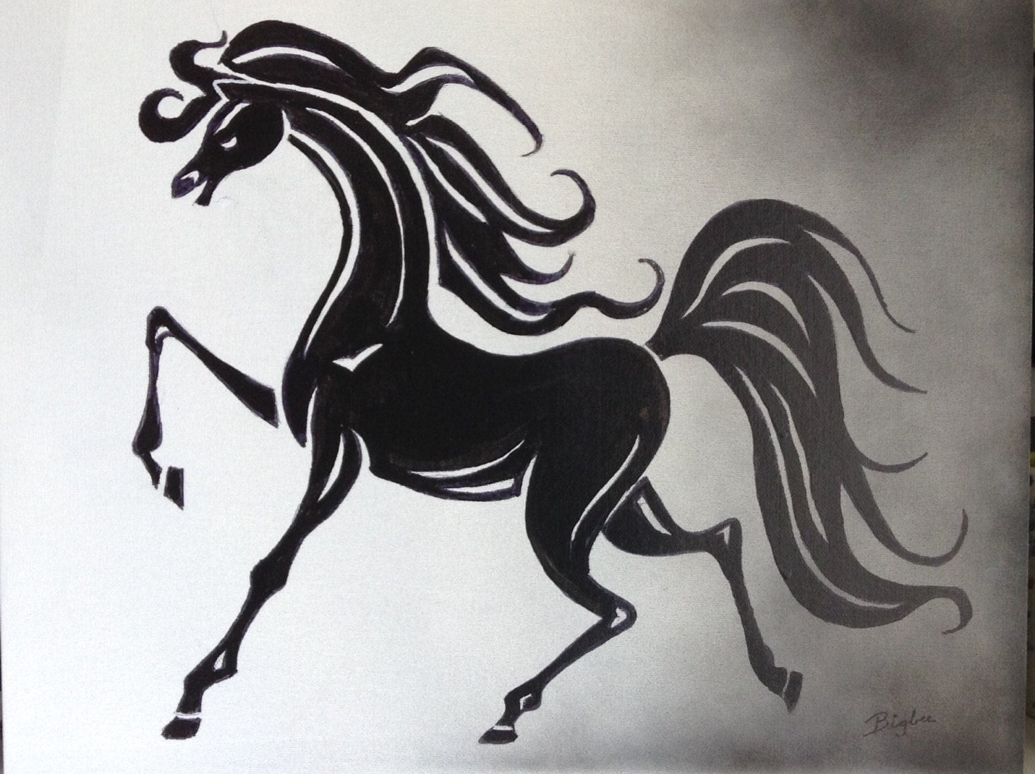 White apron runescape - Black And White Horse Art Painting