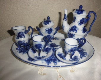 Miniature Tea Set Blue and White with Flowers