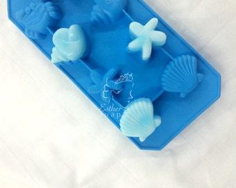 D033- 8-cavity seashells,star & crab chocolate soap candy ice tray