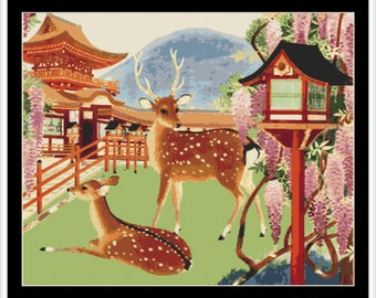 Vintage Japanese Scenery Cross Stitch Pattern / Chart Instant Download PDF