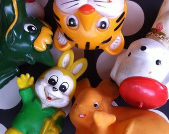 Kawaii 5 vintage rubber toys / coin banks from Japan