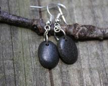 Lake Superior earrings, Basalt stone earrings, Northwoods jewelry, river rock jewelry, Yoga earrings, Zen, Northwoods jewelry, natural rock