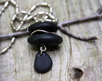 Rock jewelry, rock necklace, Lake Superior jewelry, basalt stone necklace, River rock jewelry, beach stone necklace, rock cairn necklace