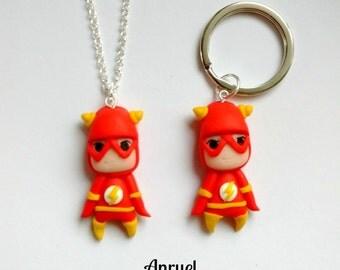 Flash FAN ART - Necklace Keychain Earrings Jay Garrick Bart Barry Allen Wally West Superhero Heroes DC Comics