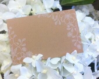 "Brown Kraft Cards ""Flower Border"" Pack of 10, Gift Tag, DIY Wedding, Papercraft, Scrapbooking,Party Supplies,florist supplies,Rustic, RSVP"