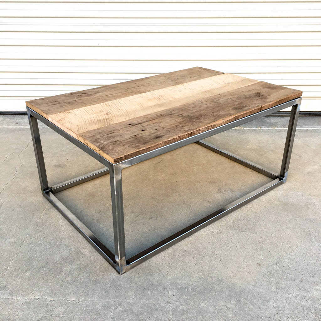 Industrial style reclaimed barn wood and steel by for Mesa centro industrial