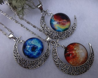 Crescent Moon Necklace, Galaxy Necklace, Filigree Metal Necklace, Silver Moon Necklace, Statement Necklace, Moon Pendant, Festival Jewelry
