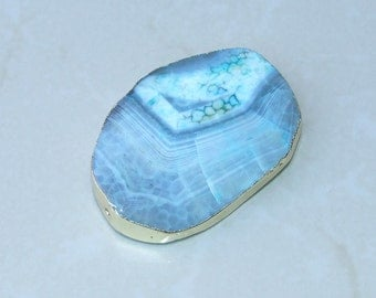 Large Pale Blue Agate Druzy Faceted Bead  - Blue Druzy Slab Bead Pendant - Druzy Agate Pendant - Gold Edge - 47mm x 68mm - 5618