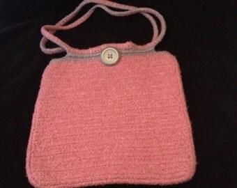 silk and merino felted crochet bag
