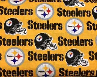 "PITTSBURGH STEELERS nfl 60"" Cotton Fabric By The Yard All Over Yellow Print Fabric Traditions"