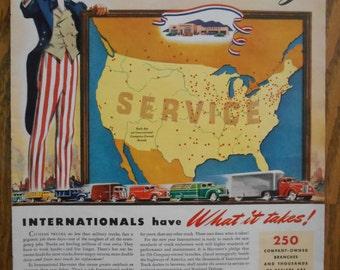 A37 Vintage 1941 International Truck US map Uncle Sam Retro 1940s advertising Life magazine ad mechanic gift gas station decor trucker gift