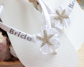 Bachelorette party favors, Flip Flops, Custom Bridal gift, Bridal shower gift for the bride, Romantic wedding sandal, Beach wedding footwear