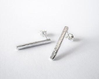 Sterling Silver Earrings  - Silver Bar Earrings - Everyday Earrings - 925 Silver Earrings - Stud Earrings - Hammered Metal Earrings