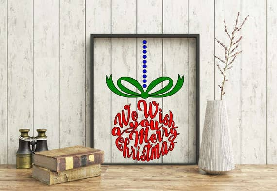 Christmas wall decoration, We Wish You a Merry Christmas Frame, Christmas ornament frame, Merry Christmas wall decor, Floating Frame decor