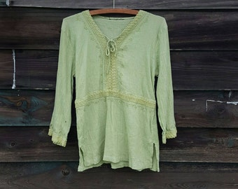 Earth green peasant styled top