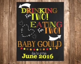 Drinking for Two, Eating for Two Chalkboard Pregnancy Announcement