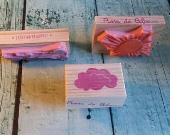 "Trio pads ""Sun, cloud and little guy / 'Sun, cloud little man' rubberstamps (3)"""