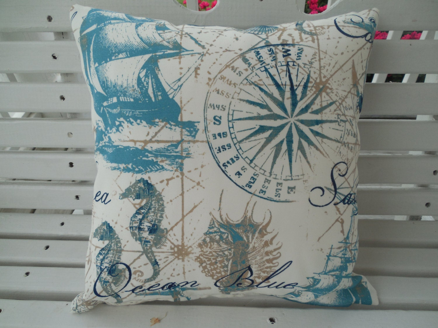 Nautical Coastal Throw Pillows : Nautical Outdoor Pillow Cover Coastal Patio Porch Decorative