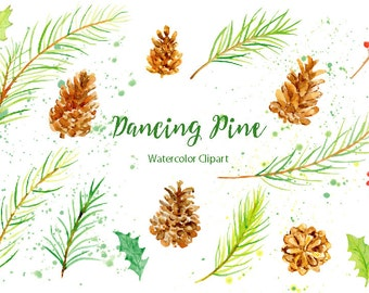 Watercolor Clipart Dancing Pine - pine branches, pine cones, paint splatter and berries for instant download