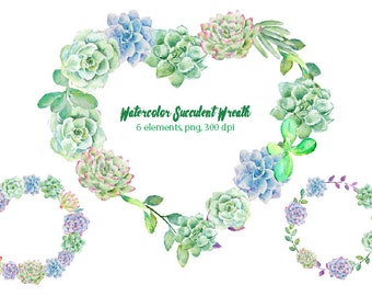 Watercolor clipart succulent plant wreaths printable instant download