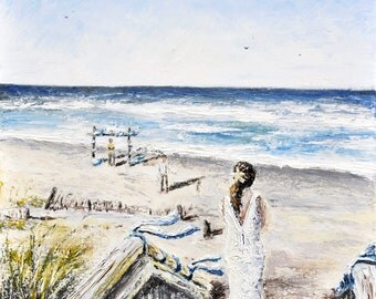 Original Palette Knife Beach Wedding Oil Painting by Spencer Yancey
