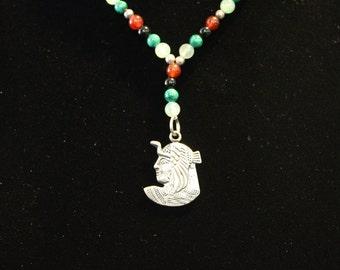 Cleopatra Sterling Silver pendant with semi-precious stone (Black Onyx, Aventurine, Carnelian & Malachite)