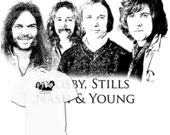 40% OFF Sale Crosby, Stills, Nash & Young Drawing T shirt CSN Csny