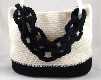 Crochet Bag Crochet Handbag Purse Tote Crochet Shoulder Bag Black And Ivory Crochet Bag With Chain Handle