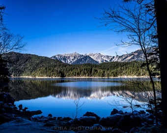 Eibsee Lake Print, Landscape Photography, Wall Art, Germany, Large Nature Print, Home Decor, Mountain Art, Europe, Alps, Lake Picture