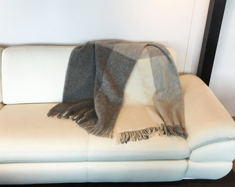 "MADE IN EUROPE Natural wool blanket - Natural wool bedding - Large grey white wool blanket - Natural wool throw blanket - 54,6"" x 93,6"""