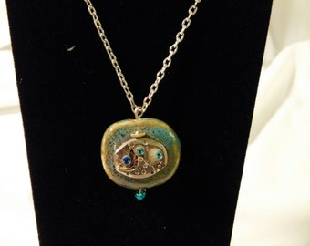 Christmas Sale - Steam Punk Squared Watch Movement Necklace -  Teal Stone