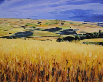 Wheat painting, Landscape painting, Wheat fields, Canvas painting, Original  Art, Certificate, Realism Art, Nature, Sky, 22 x 31.1 in